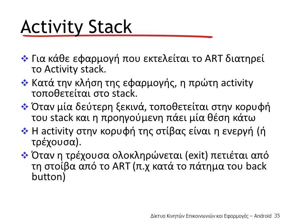 Δίκτυα Κινητών Επικοινωνιών και Εφαρμογές – Android 35 Activity Stack  Για κάθε εφαρμογή που εκτελείται το ART διατηρεί το Activity stack.