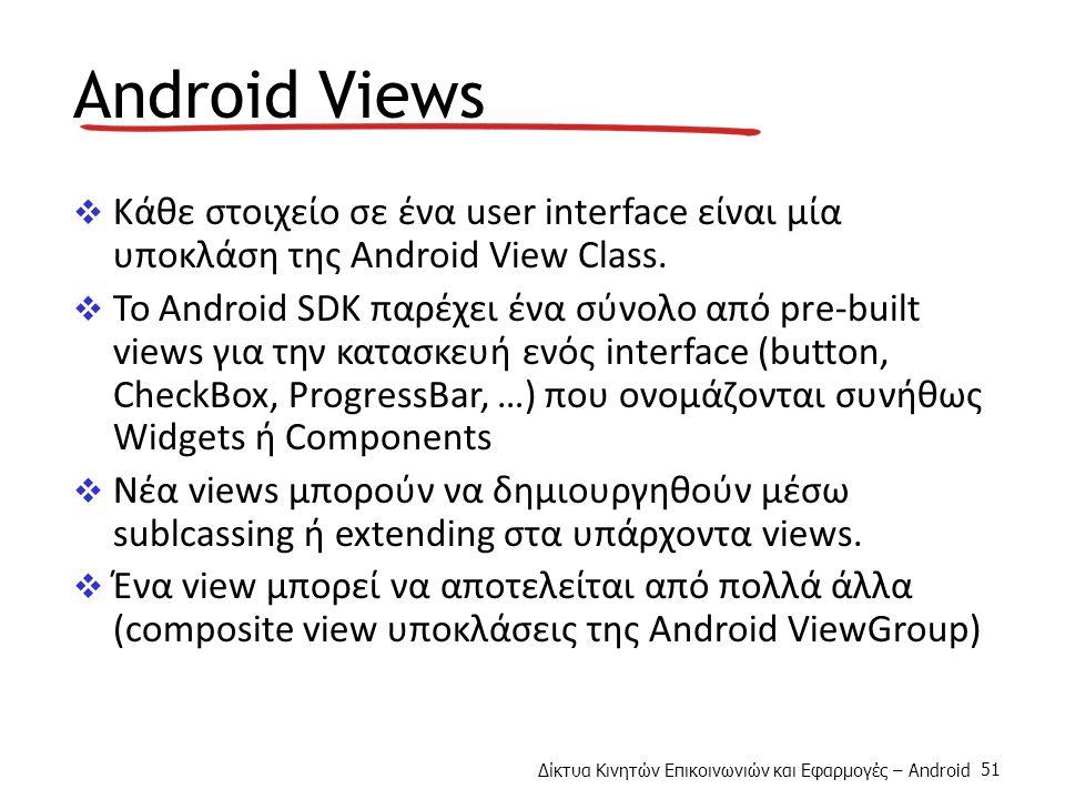 Δίκτυα Κινητών Επικοινωνιών και Εφαρμογές – Android 51 Android Views  Κάθε στοιχείο σε ένα user interface είναι μία υποκλάση της Android View Class.