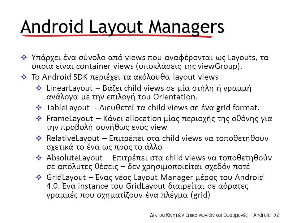Δίκτυα Κινητών Επικοινωνιών και Εφαρμογές – Android 52 Android Layout Managers  Υπάρχει ένα σύνολο από views που αναφέρονται ως Layouts, τα οποία είναι container views (υποκλάσεις της viewGroup).
