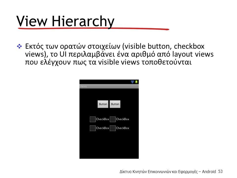 Δίκτυα Κινητών Επικοινωνιών και Εφαρμογές – Android 53 View Hierarchy  Εκτός των ορατών στοιχείων (visible button, checkbox views), το UI περιλαμβάνει ένα αριθμό από layout views που ελέγχουν πως τα visible views τοποθετούνται