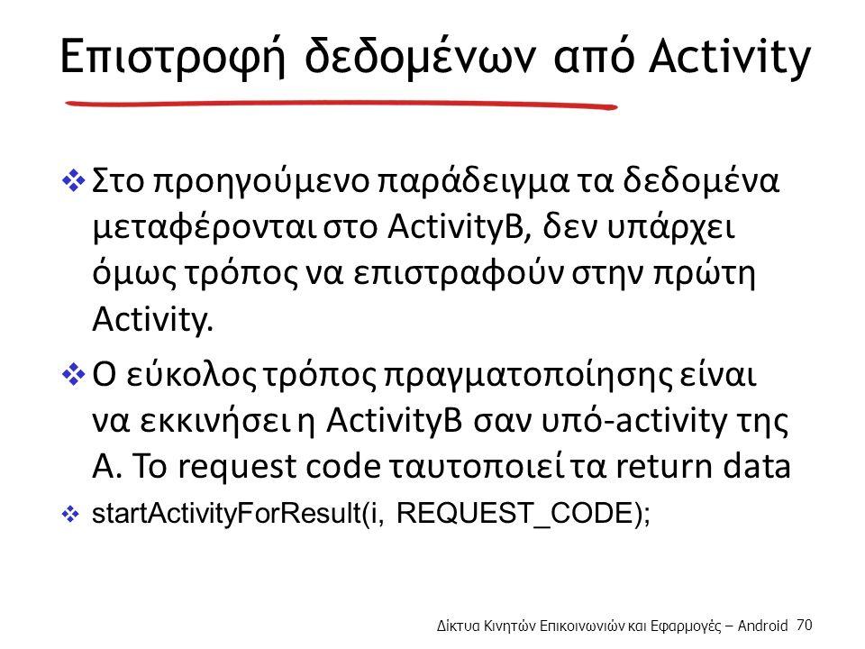 Δίκτυα Κινητών Επικοινωνιών και Εφαρμογές – Android 70 Επιστροφή δεδομένων από Activity  Στο προηγούμενο παράδειγμα τα δεδομένα μεταφέρονται στο ActivityB, δεν υπάρχει όμως τρόπος να επιστραφούν στην πρώτη Activity.