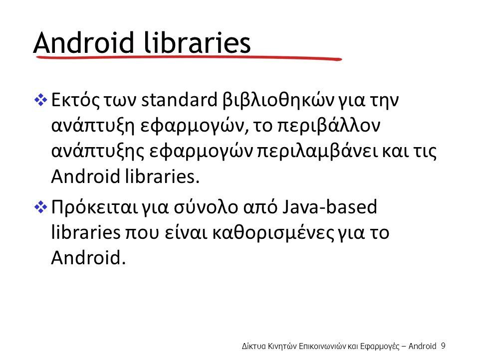 Δίκτυα Κινητών Επικοινωνιών και Εφαρμογές – Android 9 Android libraries  Εκτός των standard βιβλιοθηκών για την ανάπτυξη εφαρμογών, το περιβάλλον ανάπτυξης εφαρμογών περιλαμβάνει και τις Android libraries.