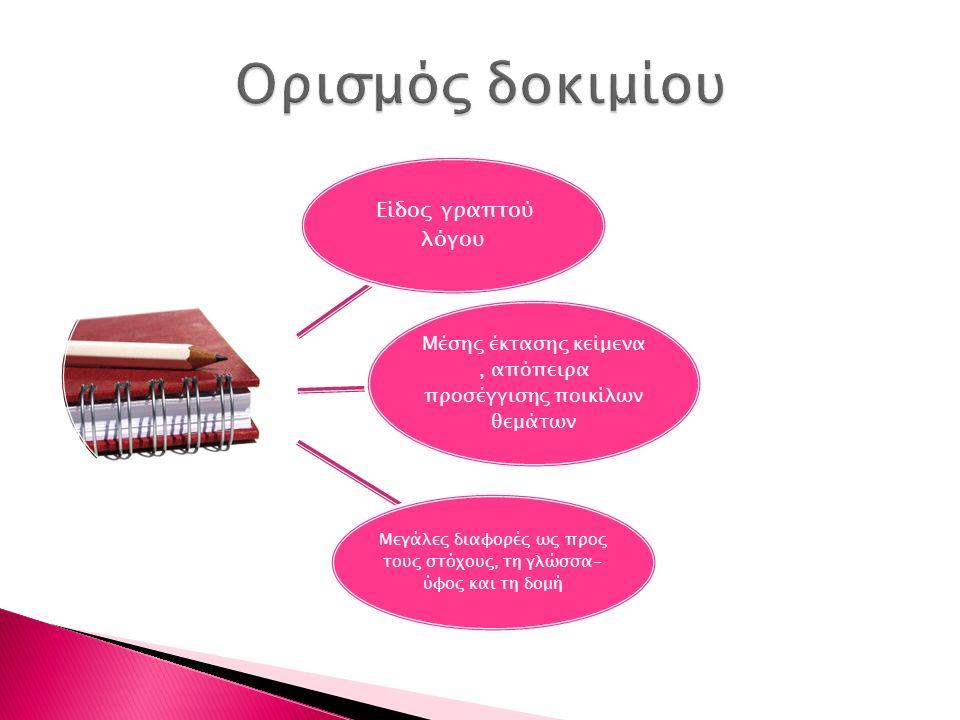 Είδος γραπτού λόγου Μέσης έκτασης κείμενα, απόπειρα προσέγγισης ποικίλων θεμάτων Μεγάλες διαφορές ως προς τους στόχους, τη γλώσσα- ύφος και τη δομή
