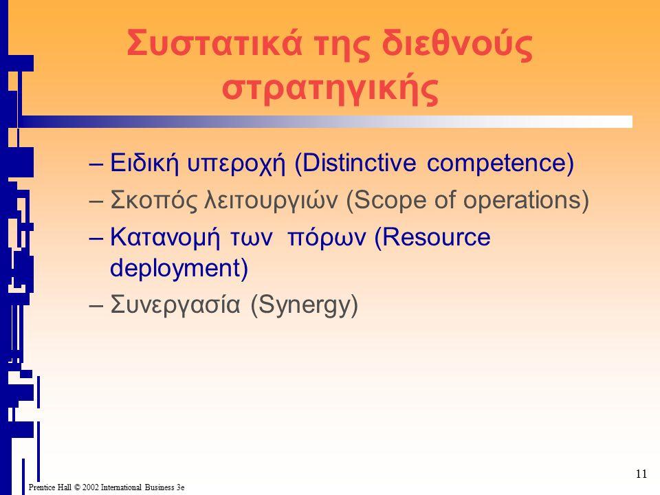 11 Prentice Hall © 2002 International Business 3e Συστατικά της διεθνούς στρατηγικής –Ειδική υπεροχή (Distinctive competence) –Σκοπός λειτουργιών (Scope of operations) –Κατανομή των πόρων (Resource deployment) –Συνεργασία (Synergy)