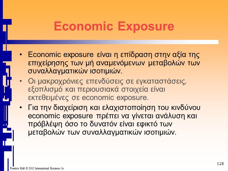 128 Prentice Hall © 2002 International Business 3e Economic Exposure Economic exposure είναι η επίδραση στην αξία της επιχείρησης των μή αναμενόμενων μεταβολών των συναλλαγματικών ισοτιμιών.