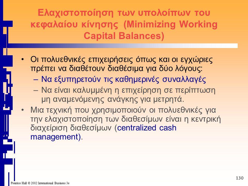 130 Prentice Hall © 2002 International Business 3e Ελαχιστοποίηση των υπολοίπων του κεφαλαίου κίνησης (Minimizing Working Capital Balances) Οι πολυεθνικές επιχειρήσεις όπως και οι εγχώριες πρέπει να διαθέτουν διαθέσιμα για δύο λόγους: –Να εξυπηρετούν τις καθημερινές συναλλαγές –Να είναι καλυμμένη η επιχείρηση σε περίπτωση μη αναμενόμενης ανάγκης για μετρητά.