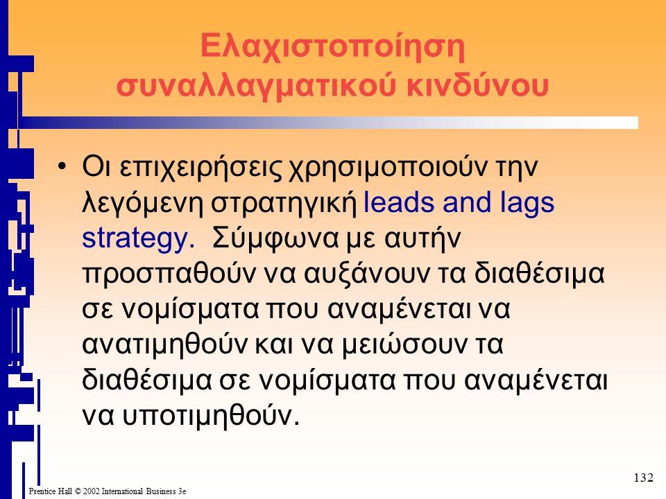 132 Prentice Hall © 2002 International Business 3e Ελαχιστοποίηση συναλλαγματικού κινδύνου Οι επιχειρήσεις χρησιμοποιούν την λεγόμενη στρατηγική leads and lags strategy.