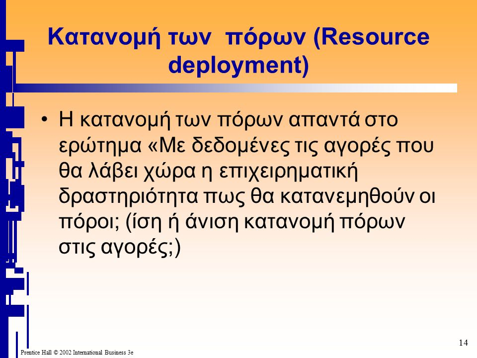 14 Prentice Hall © 2002 International Business 3e Κατανομή των πόρων (Resource deployment) Η κατανομή των πόρων απαντά στο ερώτημα «Με δεδομένες τις αγορές που θα λάβει χώρα η επιχειρηματική δραστηριότητα πως θα κατανεμηθούν οι πόροι; (ίση ή άνιση κατανομή πόρων στις αγορές;)