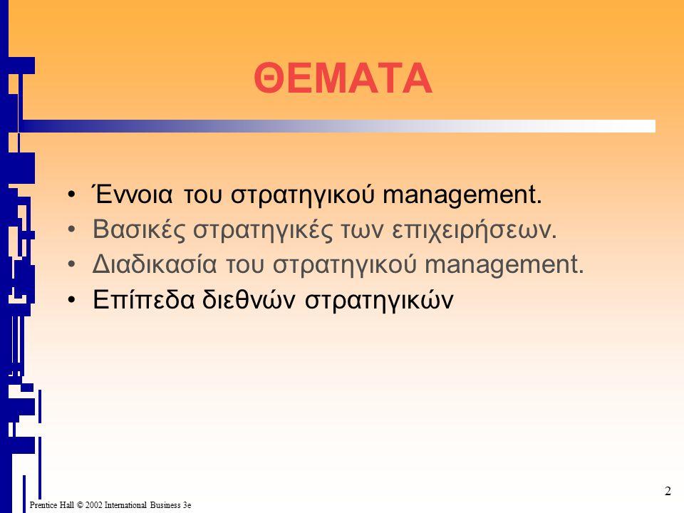 2 ΘΕΜΑΤΑ Έννοια του στρατηγικού management. Βασικές στρατηγικές των επιχειρήσεων.