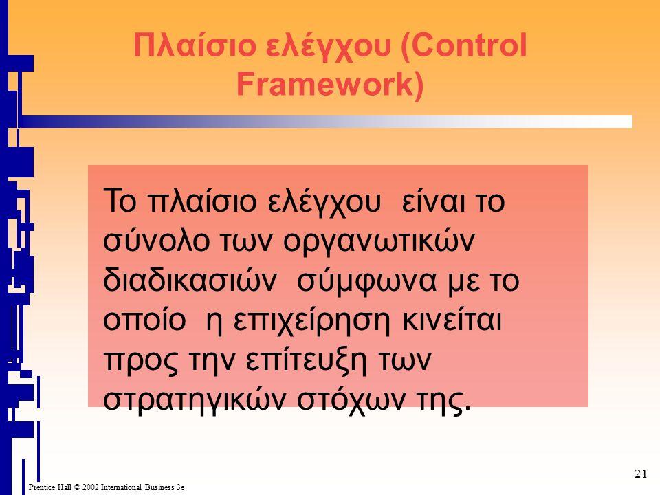 21 Prentice Hall © 2002 International Business 3e Πλαίσιο ελέγχου (Control Framework) Το πλαίσιο ελέγχου είναι το σύνολο των οργανωτικών διαδικασιών σύμφωνα με το οποίο η επιχείρηση κινείται προς την επίτευξη των στρατηγικών στόχων της.