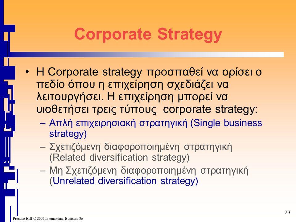 23 Prentice Hall © 2002 International Business 3e Corporate Strategy Η Corporate strategy προσπαθεί να ορίσει ο πεδίο όπου η επιχείρηση σχεδιάζει να λειτουργήσει.