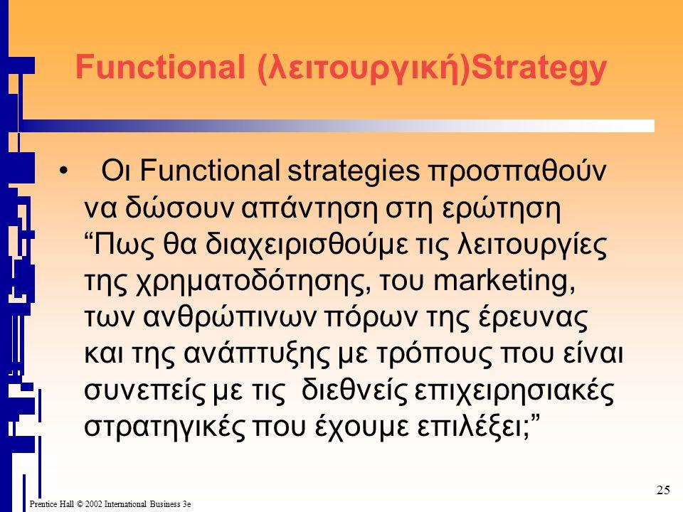 25 Prentice Hall © 2002 International Business 3e Functional (λειτουργική)Strategy Οι Functional strategies προσπαθούν να δώσουν απάντηση στη ερώτηση Πως θα διαχειρισθούμε τις λειτουργίες της χρηματοδότησης, του marketing, των ανθρώπινων πόρων της έρευνας και της ανάπτυξης με τρόπους που είναι συνεπείς με τις διεθνείς επιχειρησιακές στρατηγικές που έχουμε επιλέξει;