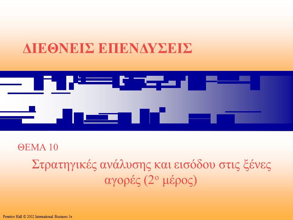 35 Prentice Hall © 2002 International Business 3e ΔΙΕΘΝΕΙΣ ΕΠΕΝΔΥΣΕΙΣ ΘΕΜΑ 10 Στρατηγικές ανάλυσης και εισόδου στις ξένες αγορές (2 ο μέρος) Prentice Hall © 2002 International Business 3e