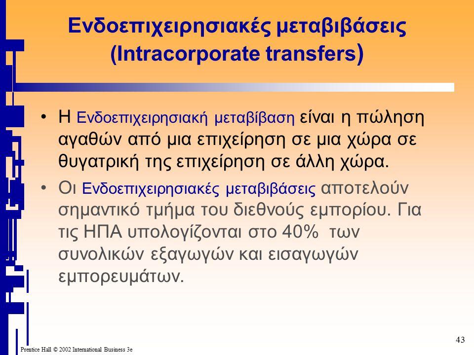43 Prentice Hall © 2002 International Business 3e Ενδοεπιχειρησιακές μεταβιβάσεις (Intracorporate transfers ) Η Ενδοεπιχειρησιακή μεταβίβαση είναι η πώληση αγαθών από μια επιχείρηση σε μια χώρα σε θυγατρική της επιχείρηση σε άλλη χώρα.