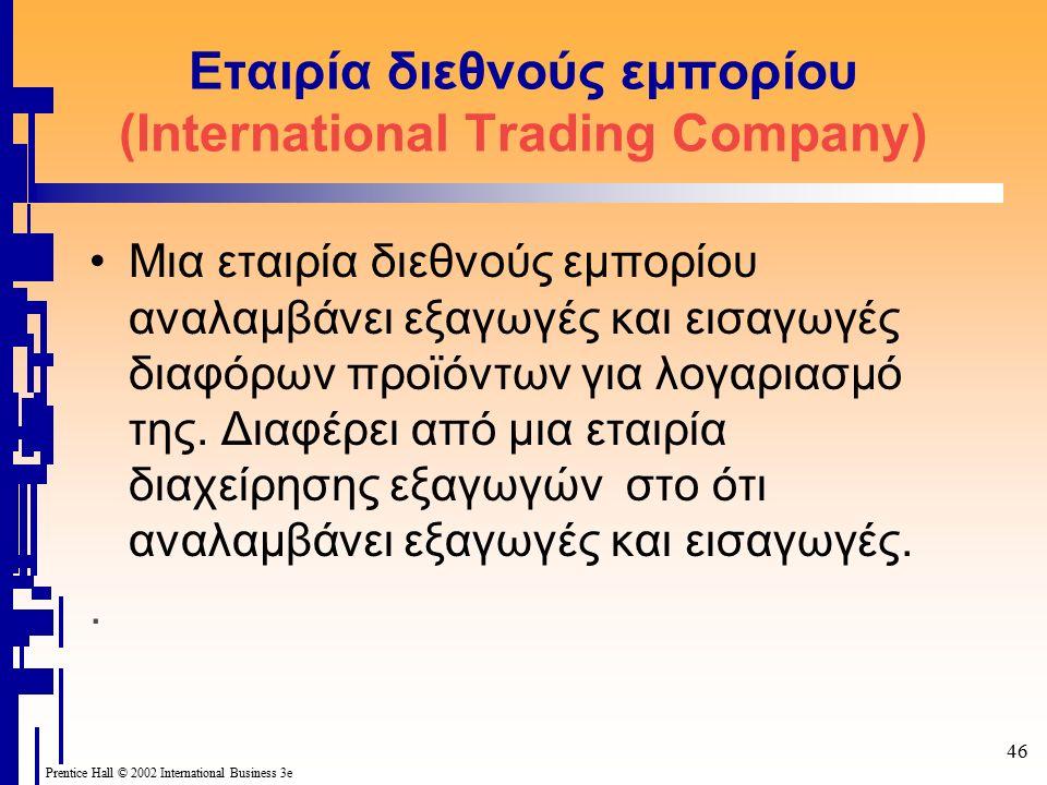 46 Prentice Hall © 2002 International Business 3e Εταιρία διεθνούς εμπορίου (Ιnternational Trading Company) Μια εταιρία διεθνούς εμπορίου αναλαμβάνει εξαγωγές και εισαγωγές διαφόρων προϊόντων για λογαριασμό της.