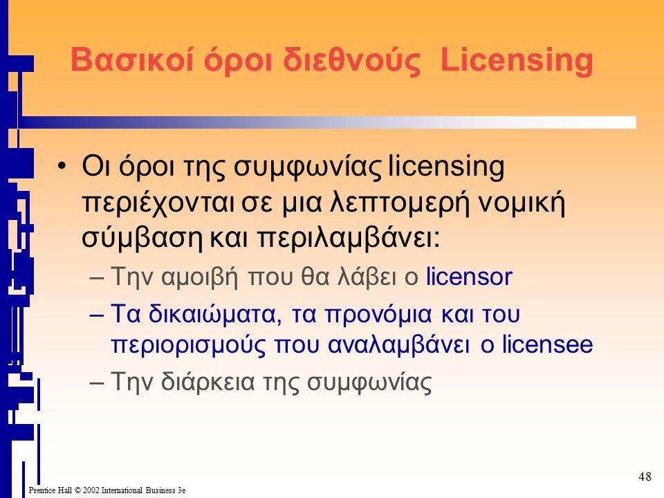48 Prentice Hall © 2002 International Business 3e Βασικοί όροι διεθνούς Licensing Οι όροι της συμφωνίας licensing περιέχονται σε μια λεπτομερή νομική σύμβαση και περιλαμβάνει: –Την αμοιβή που θα λάβει ο licensor –Τα δικαιώματα, τα προνόμια και του περιορισμούς που αναλαμβάνει ο licensee –Την διάρκεια της συμφωνίας