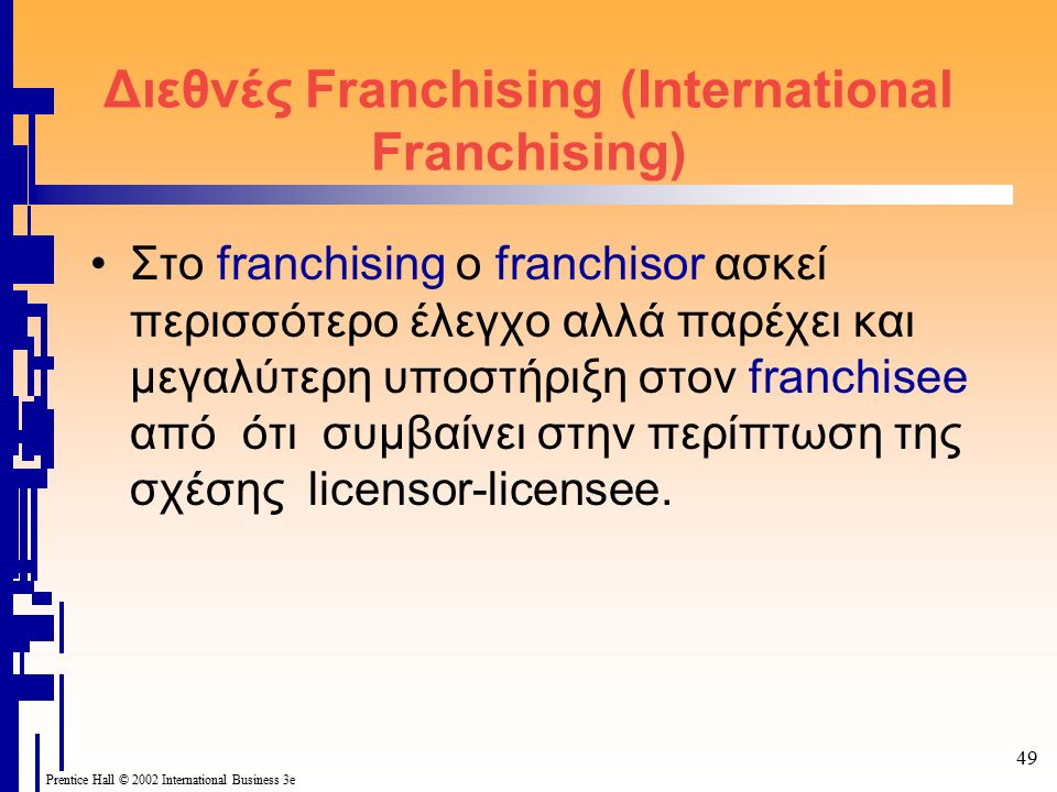 49 Prentice Hall © 2002 International Business 3e Διεθνές Franchising (International Franchising) Στο franchising ο franchisor ασκεί περισσότερο έλεγχ