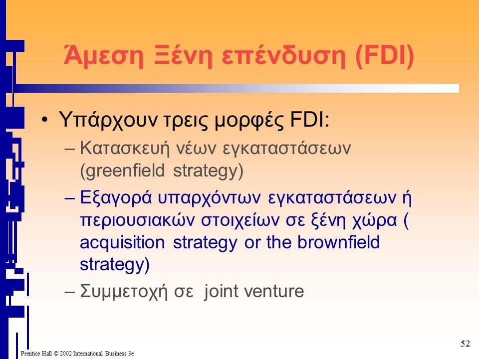 52 Prentice Hall © 2002 International Business 3e Άμεση Ξένη επένδυση (FDI) Υπάρχουν τρεις μορφές FDI: –Kατασκευή νέων εγκαταστάσεων (greenfield strategy) –Εξαγορά υπαρχόντων εγκαταστάσεων ή περιουσιακών στοιχείων σε ξένη χώρα ( acquisition strategy or the brownfield strategy) –Συμμετοχή σε joint venture