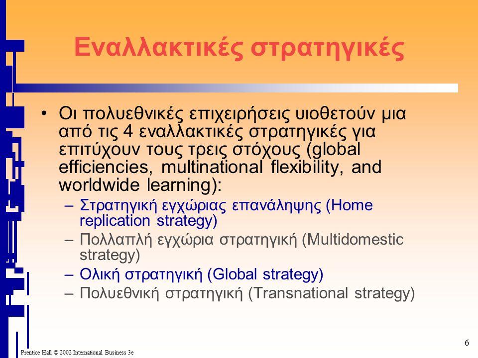 6 Prentice Hall © 2002 International Business 3e Εναλλακτικές στρατηγικές Οι πολυεθνικές επιχειρήσεις υιοθετούν μια από τις 4 εναλλακτικές στρατηγικές για επιτύχουν τους τρεις στόχους (global efficiencies, multinational flexibility, and worldwide learning): –Στρατηγική εγχώριας επανάληψης (Home replication strategy) –Πολλαπλή εγχώρια στρατηγική (Multidomestic strategy) –Ολική στρατηγική (Global strategy) –Πολυεθνική στρατηγική (Transnational strategy)