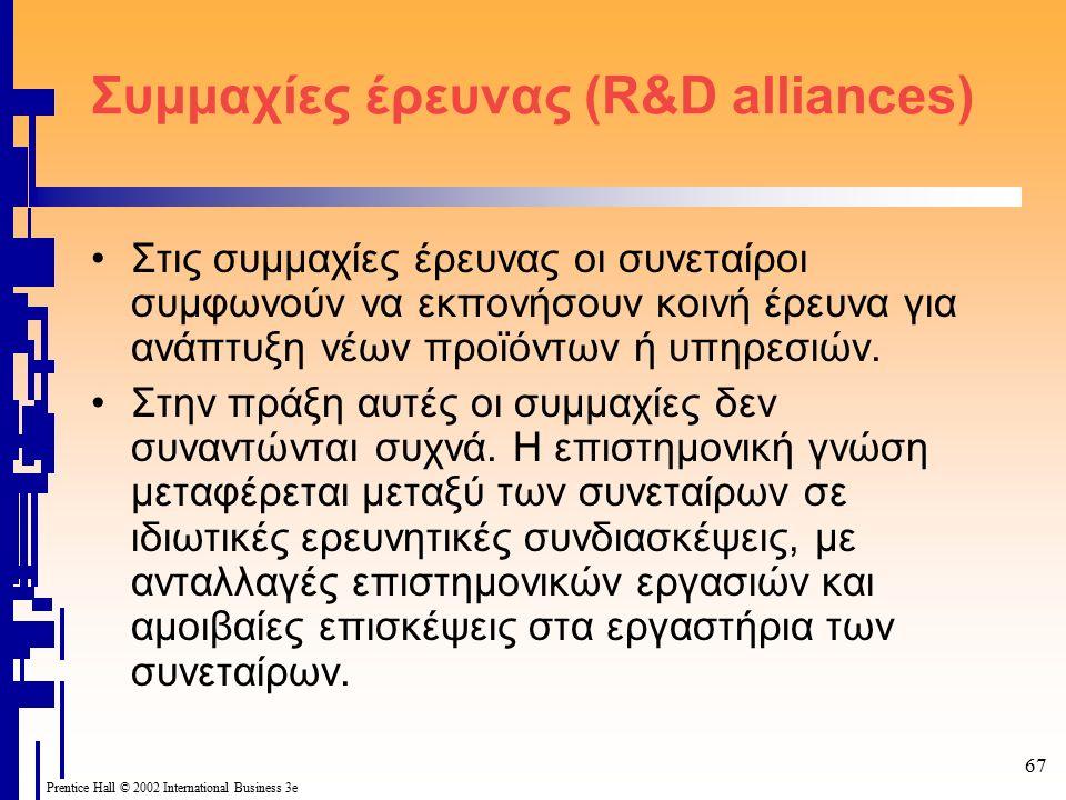 67 Prentice Hall © 2002 International Business 3e Συμμαχίες έρευνας (R&D alliances) Στις συμμαχίες έρευνας οι συνεταίροι συμφωνούν να εκπονήσουν κοινή έρευνα για ανάπτυξη νέων προϊόντων ή υπηρεσιών.