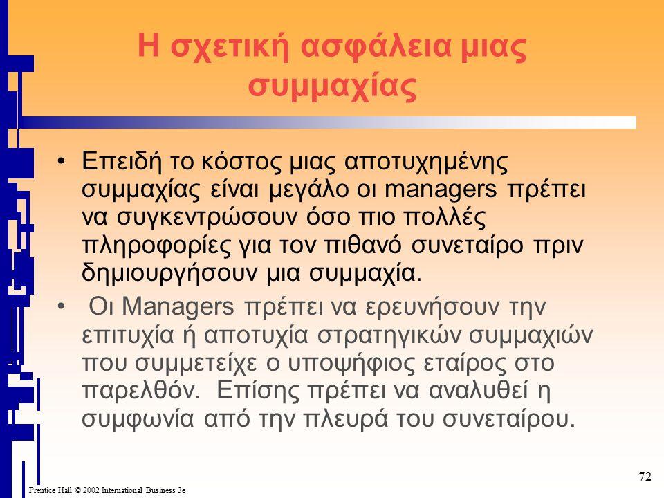 72 Prentice Hall © 2002 International Business 3e Η σχετική ασφάλεια μιας συμμαχίας Επειδή το κόστος μιας αποτυχημένης συμμαχίας είναι μεγάλο οι managers πρέπει να συγκεντρώσουν όσο πιο πολλές πληροφορίες για τον πιθανό συνεταίρο πριν δημιουργήσουν μια συμμαχία.