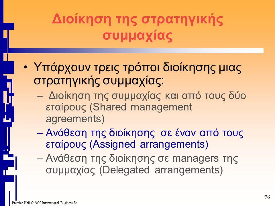 76 Prentice Hall © 2002 International Business 3e Διοίκηση της στρατηγικής συμμαχίας Υπάρχουν τρεις τρόποι διοίκησης μιας στρατηγικής συμμαχίας: – Διοίκηση της συμμαχίας και από τους δύο εταίρους (Shared management agreements) –Ανάθεση της διοίκησης σε έναν από τους εταίρους (Assigned arrangements) –Ανάθεση της διοίκησης σε managers της συμμαχίας (Delegated arrangements)