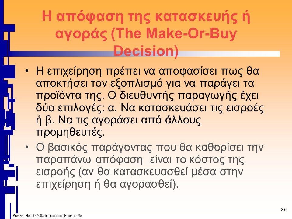 86 Prentice Hall © 2002 International Business 3e Η απόφαση της κατασκευής ή αγοράς (The Make-Or-Buy Decision) Η επιχείρηση πρέπει να αποφασίσει πως θα αποκτήσει τον εξοπλισμό για να παράγει τα προϊόντα της.