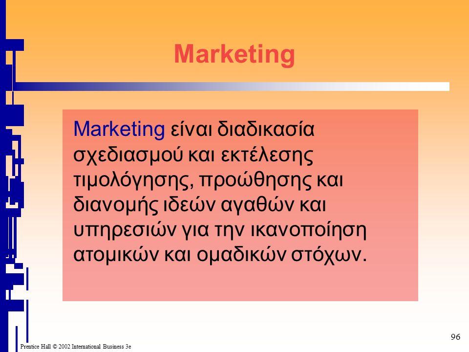 96 Prentice Hall © 2002 International Business 3e Marketing Marketing είναι διαδικασία σχεδιασμού και εκτέλεσης τιμολόγησης, προώθησης και διανομής ιδεών αγαθών και υπηρεσιών για την ικανοποίηση ατομικών και ομαδικών στόχων.