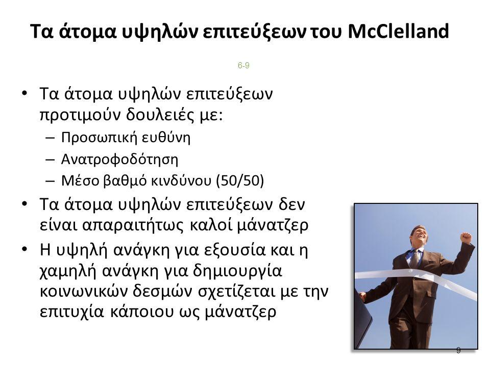 Τα άτομα υψηλών επιτεύξεων του McClelland Τα άτομα υψηλών επιτεύξεων προτιμούν δουλειές με: – Προσωπική ευθύνη – Ανατροφοδότηση – Μέσο βαθμό κινδύνου (50/50) Τα άτομα υψηλών επιτεύξεων δεν είναι απαραιτήτως καλοί μάνατζερ Η υψηλή ανάγκη για εξουσία και η χαμηλή ανάγκη για δημιουργία κοινωνικών δεσμών σχετίζεται με την επιτυχία κάποιου ως μάνατζερ 6-9 9