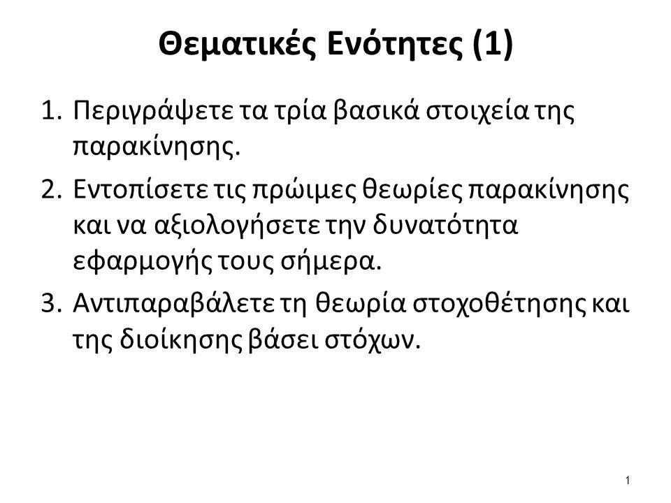 Θεματικές Ενότητες (1) 1.Περιγράψετε τα τρία βασικά στοιχεία της παρακίνησης.