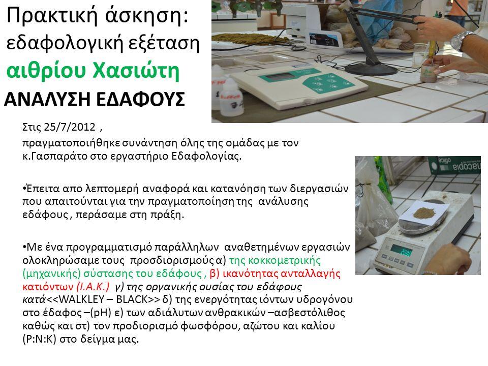 ΑΝΑΛΥΣΗ ΕΔΑΦΟΥΣ Πρακτική άσκηση: εδαφολογική εξέταση αιθρίου Χασιώτη Στις 25/7/2012, πραγματοποιήθηκε συνάντηση όλης της ομάδας με τον κ.Γασπαράτο στο εργαστήριο Εδαφολογίας.