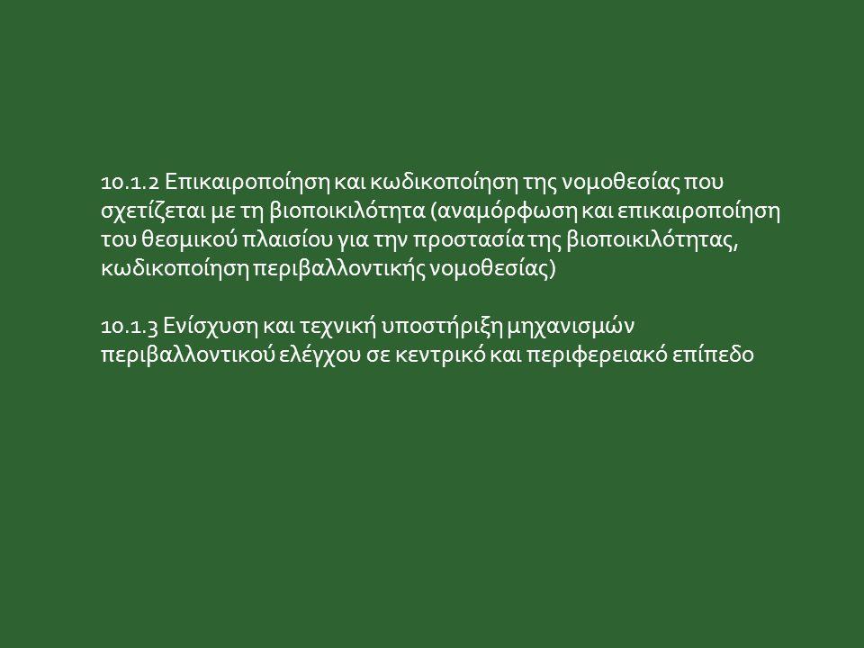 10.1.2 Επικαιροποίηση και κωδικοποίηση της νομοθεσίας που σχετίζεται με τη βιοποικιλότητα (αναμόρφωση και επικαιροποίηση του θεσμικού πλαισίου για την