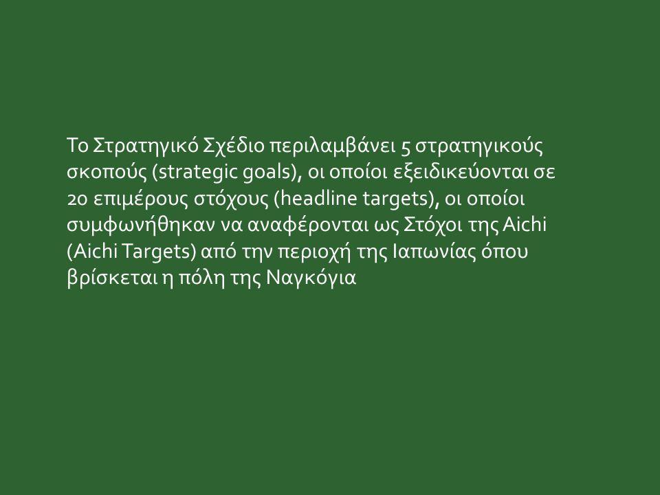 Το Στρατηγικό Σχέδιο περιλαμβάνει 5 στρατηγικούς σκοπούς (strategic goals), οι οποίοι εξειδικεύονται σε 20 επιμέρους στόχους (headline targets), οι οποίοι συμφωνήθηκαν να αναφέρονται ως Στόχοι της Aichi (Aichi Targets) από την περιοχή της Ιαπωνίας όπου βρίσκεται η πόλη της Ναγκόγια