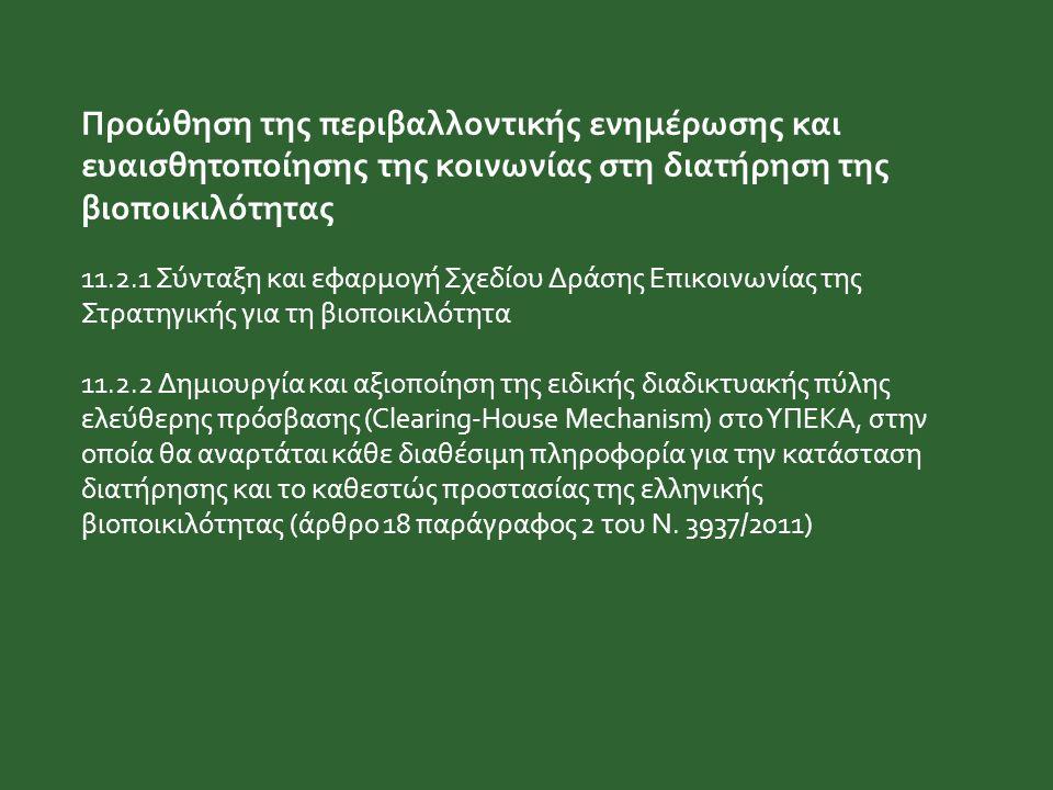 Προώθηση της περιβαλλοντικής ενημέρωσης και ευαισθητοποίησης της κοινωνίας στη διατήρηση της βιοποικιλότητας 11.2.1 Σύνταξη και εφαρμογή Σχεδίου Δράση