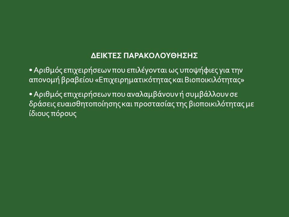 ΔΕΙΚΤΕΣ ΠΑΡΑΚΟΛΟΥΘΗΣΗΣ Αριθμός επιχειρήσεων που επιλέγονται ως υποψήφιες για την απονομή βραβείου «Επιχειρηματικότητας και Βιοποικιλότητας» Αριθμός επ