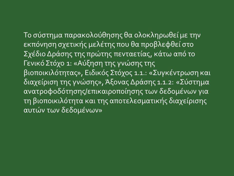 Το σύστημα παρακολούθησης θα ολοκληρωθεί με την εκπόνηση σχετικής μελέτης που θα προβλεφθεί στο Σχέδιο Δράσης της πρώτης πενταετίας, κάτω από το Γενικό Στόχο 1: «Αύξηση της γνώσης της βιοποικιλότητας», Ειδικός Στόχος 1.1.: «Συγκέντρωση και διαχείριση της γνώσης», Άξονας Δράσης 1.1.2: «Σύστημα ανατροφοδότησης/επικαιροποίησης των δεδομένων για τη βιοποικιλότητα και της αποτελεσματικής διαχείρισης αυτών των δεδομένων»