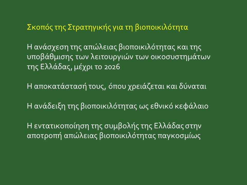 Σκοπός της Στρατηγικής για τη βιοποικιλότητα Η ανάσχεση της απώλειας βιοποικιλότητας και της υποβάθμισης των λειτουργιών των οικοσυστημάτων της Ελλάδας, μέχρι το 2026 Η αποκατάστασή τους, όπου χρειάζεται και δύναται Η ανάδειξη της βιοποικιλότητας ως εθνικό κεφάλαιο Η εντατικοποίηση της συμβολής της Ελλάδας στην αποτροπή απώλειας βιοποικιλότητας παγκοσμίως