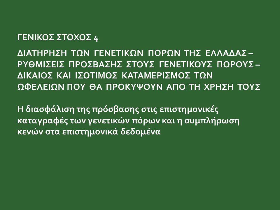 ΓΕΝΙΚΟΣ ΣΤΟΧΟΣ 4 ΔΙΑΤΗΡΗΣΗ ΤΩΝ ΓΕΝΕΤΙΚΩΝ ΠΟΡΩΝ ΤΗΣ ΕΛΛΑΔΑΣ – ΡΥΘΜΙΣΕΙΣ ΠΡΟΣΒΑΣΗΣ ΣΤΟΥΣ ΓΕΝΕΤΙΚΟΥΣ ΠΟΡΟΥΣ – ΔΙΚΑΙΟΣ ΚΑΙ ΙΣΟΤΙΜΟΣ ΚΑΤΑΜΕΡΙΣΜΟΣ ΤΩΝ ΩΦΕΛΕΙΩΝ ΠΟΥ ΘΑ ΠΡΟΚΥΨΟΥΝ ΑΠΟ ΤΗ ΧΡΗΣΗ ΤΟΥΣ Η διασφάλιση της πρόσβασης στις επιστημονικές καταγραφές των γενετικών πόρων και η συμπλήρωση κενών στα επιστημονικά δεδομένα