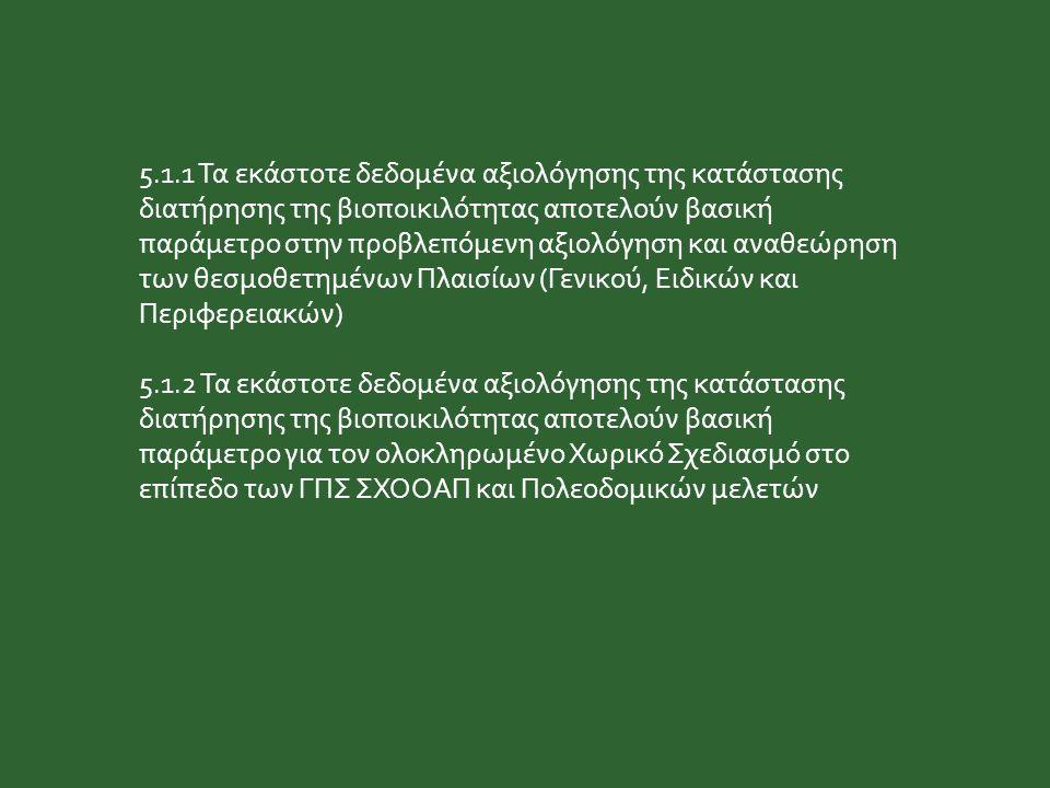 5.1.1 Τα εκάστοτε δεδομένα αξιολόγησης της κατάστασης διατήρησης της βιοποικιλότητας αποτελούν βασική παράμετρο στην προβλεπόμενη αξιολόγηση και αναθεώρηση των θεσμοθετημένων Πλαισίων (Γενικού, Ειδικών και Περιφερειακών) 5.1.2 Τα εκάστοτε δεδομένα αξιολόγησης της κατάστασης διατήρησης της βιοποικιλότητας αποτελούν βασική παράμετρο για τον ολοκληρωμένο Χωρικό Σχεδιασμό στο επίπεδο των ΓΠΣ ΣΧΟΟΑΠ και Πολεοδομικών μελετών