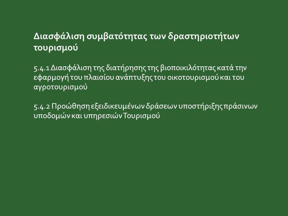 Διασφάλιση συμβατότητας των δραστηριοτήτων τουρισμού 5.4.1 Διασφάλιση της διατήρησης της βιοποικιλότητας κατά την εφαρμογή του πλαισίου ανάπτυξης του