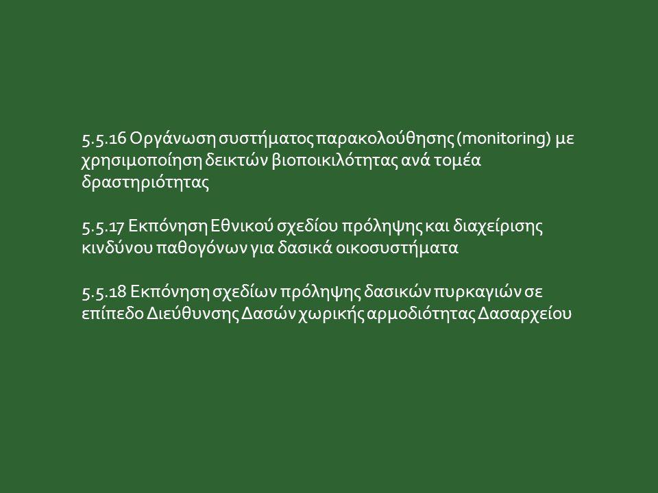 5.5.16 Οργάνωση συστήματος παρακολούθησης (monitoring) με χρησιμοποίηση δεικτών βιοποικιλότητας ανά τομέα δραστηριότητας 5.5.17 Εκπόνηση Εθνικού σχεδί