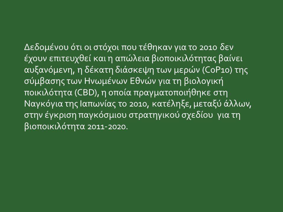 Δεδομένου ότι οι στόχοι που τέθηκαν για το 2010 δεν έχουν επιτευχθεί και η απώλεια βιοποικιλότητας βαίνει αυξανόμενη, η δέκατη διάσκεψη των μερών (CoP