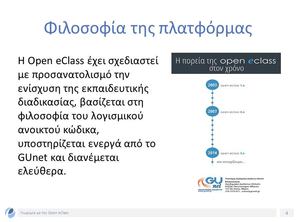 5 Γνωριμία με την Open eClass Βασική επιδίωξη της πλατφόρμας Βασική επιδίωξη της πλατφόρμας είναι η ενσωμάτωση των νέων τεχνολογιών και η εποικοδομητική χρήση του διαδικτύου στην εκπαιδευτική διαδικασία.