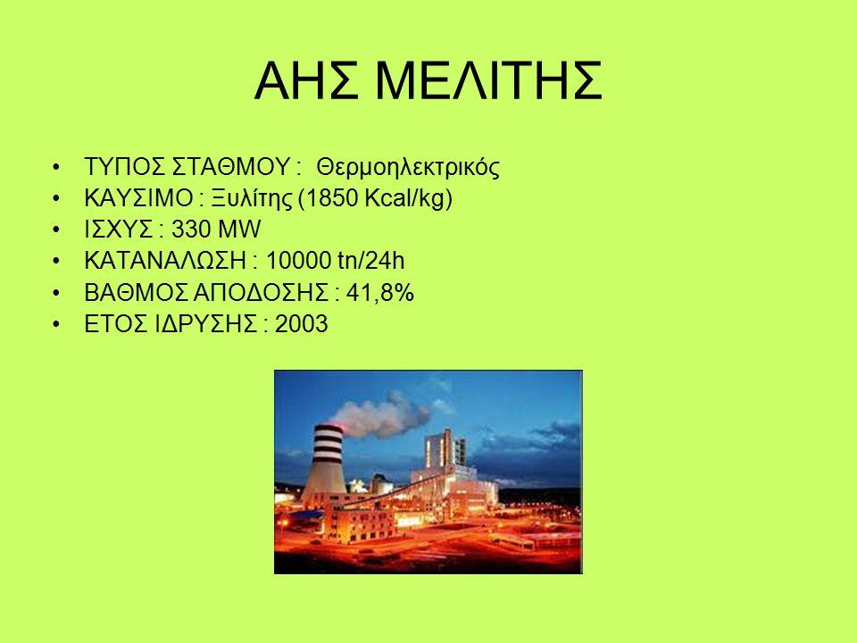 ΑΗΣ ΜΕΛΙΤΗΣ ΤΥΠΟΣ ΣΤΑΘΜΟΥ : Θερμοηλεκτρικός ΚΑΥΣΙΜΟ : Ξυλίτης (1850 Kcal/kg) ΙΣΧΥΣ : 330 MW ΚΑΤΑΝΑΛΩΣΗ : 10000 tn/24h ΒΑΘΜΟΣ ΑΠΟΔΟΣΗΣ : 41,8% ΕΤΟΣ ΙΔΡΥΣΗΣ : 2003