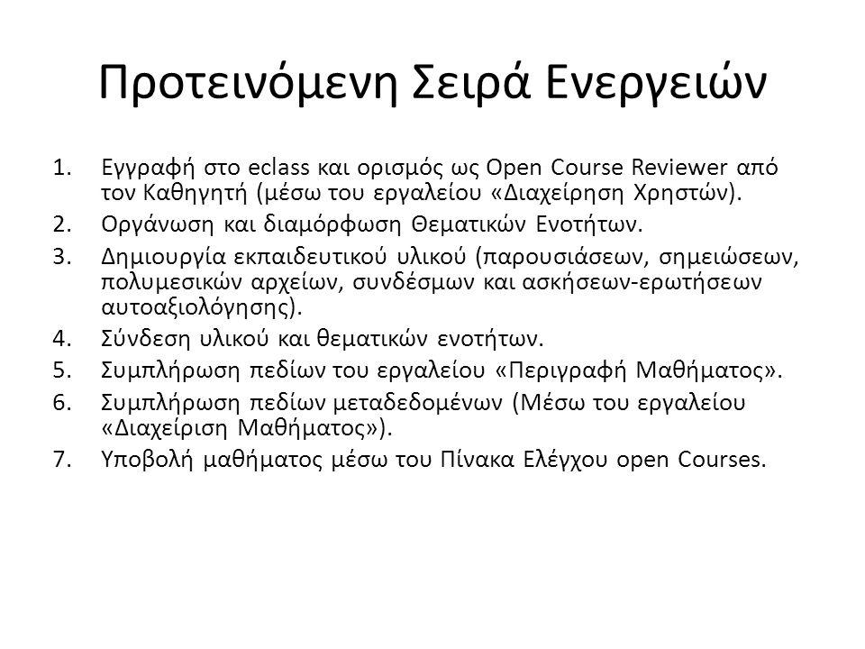 Προτεινόμενη Σειρά Ενεργειών 1.Εγγραφή στο eclass και ορισμός ως Open Course Reviewer από τον Καθηγητή (μέσω του εργαλείου «Διαχείρηση Χρηστών).