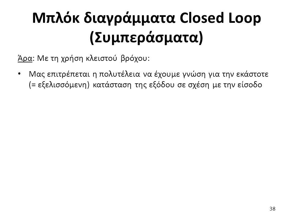 Μπλόκ διαγράμματα Closed Loop (Συμπεράσματα) Άρα: Με τη χρήση κλειστού βρόχου: Μας επιτρέπεται η πολυτέλεια να έχουμε γνώση για την εκάστοτε (= εξελισσόμενη) κατάσταση της εξόδου σε σχέση με την είσοδο 38