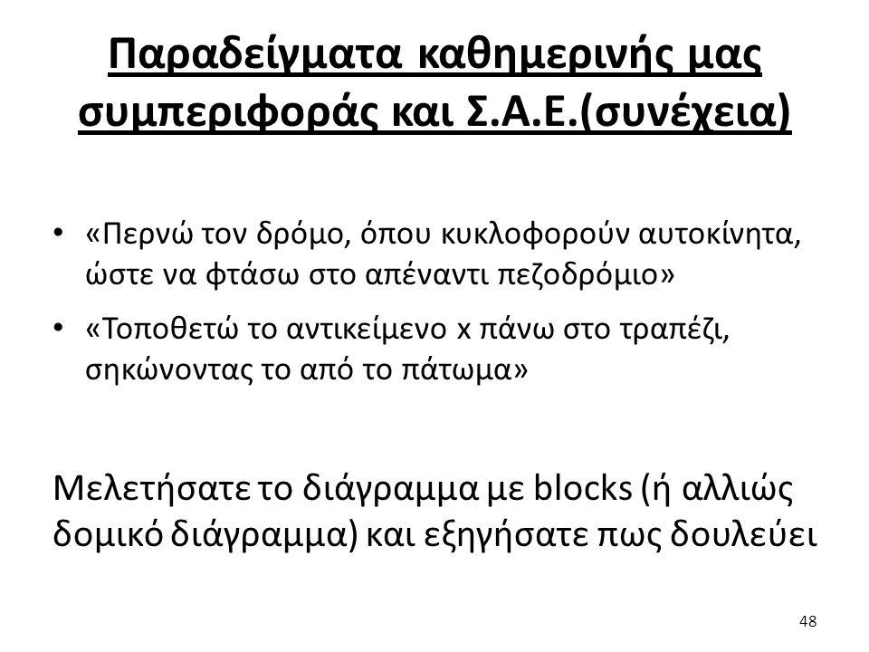 Παραδείγματα καθημερινής μας συμπεριφοράς και Σ.Α.Ε.(συνέχεια) «Περνώ τον δρόμο, όπου κυκλοφορούν αυτοκίνητα, ώστε να φτάσω στο απέναντι πεζοδρόμιο» «Τοποθετώ το αντικείμενο x πάνω στο τραπέζι, σηκώνοντας το από το πάτωμα» Μελετήσατε το διάγραμμα με blocks (ή αλλιώς δομικό διάγραμμα) και εξηγήσατε πως δουλεύει 48