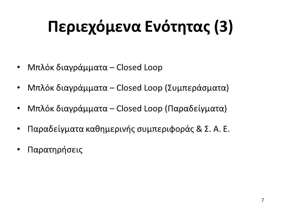 Περιεχόμενα Ενότητας (3) Μπλόκ διαγράμματα – Closed Loop Μπλόκ διαγράμματα – Closed Loop (Συμπεράσματα) Μπλόκ διαγράμματα – Closed Loop (Παραδείγματα) Παραδείγματα καθημερινής συμπεριφοράς & Σ.
