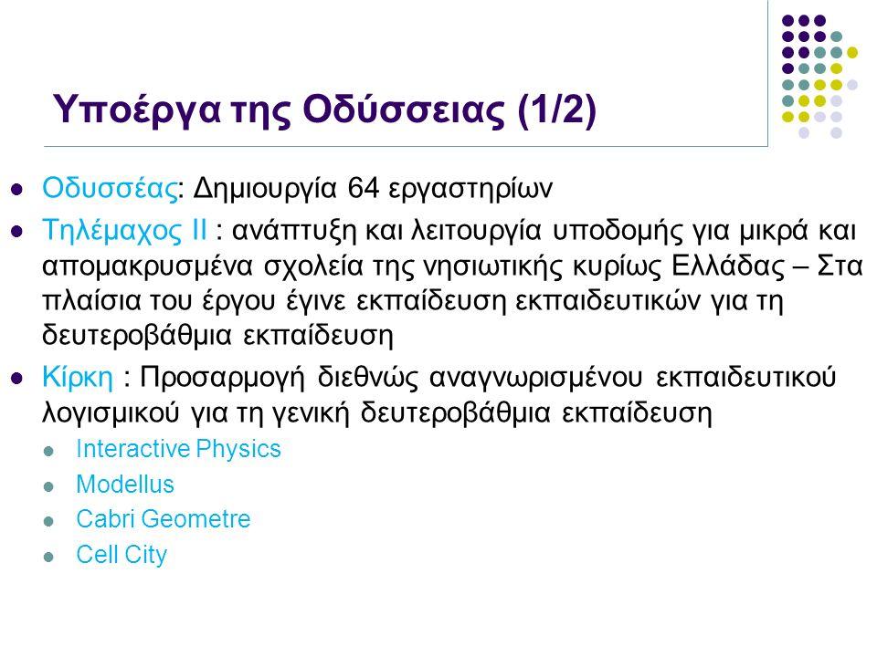 Υποέργα της Οδύσσειας (1/2) Οδυσσέας: Δημιουργία 64 εργαστηρίων Τηλέμαχος ΙΙ : ανάπτυξη και λειτουργία υποδομής για μικρά και απομακρυσμένα σχολεία τη