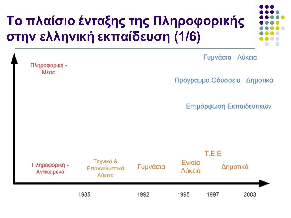 Υποέργα της Οδύσσειας (1/2) Οδυσσέας: Δημιουργία 64 εργαστηρίων Τηλέμαχος ΙΙ : ανάπτυξη και λειτουργία υποδομής για μικρά και απομακρυσμένα σχολεία της νησιωτικής κυρίως Ελλάδας – Στα πλαίσια του έργου έγινε εκπαίδευση εκπαιδευτικών για τη δευτεροβάθμια εκπαίδευση Κίρκη : Προσαρμογή διεθνώς αναγνωρισμένου εκπαιδευτικού λογισμικού για τη γενική δευτεροβάθμια εκπαίδευση Interactive Physics Modellus Cabri Geometre Cell City